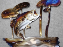 bass,trout,bream,perch,sunfish,sac au lait, lillies,metal,art