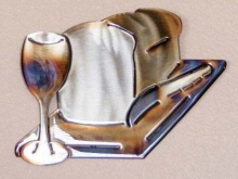 bread,wine,cutting,board,glass,knife,kitchen,wall,art