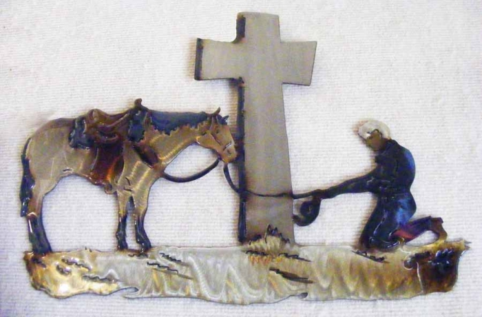 cowboy,prayer,horse,cross,cowboy,kneeling,western, spiritual,metal,art
