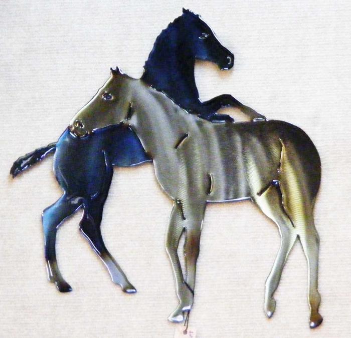 horse,foal,equine,animal,pasture,pastoral,metal,wall,art