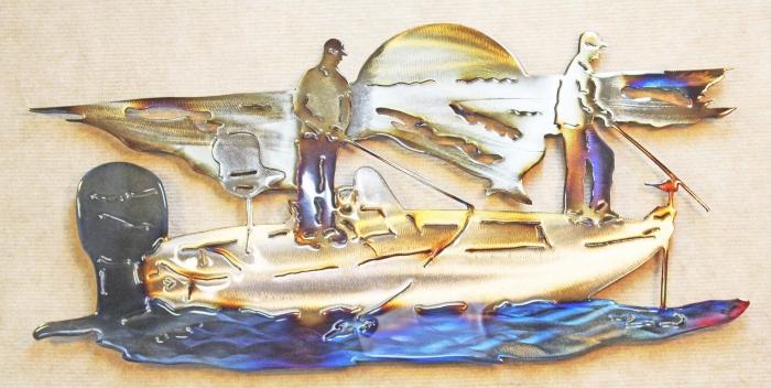 ish,bass,boat,mercury,lake,river,metal,wall,art