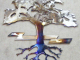 nature,tree,art,roots,leaves,metal,art