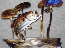 bass,trout,bream,perch,sunfish,sac au lait, lillies,metal,art