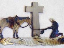 cowboy,prayer,horse,cross,cowboy,kneeling,western, spiritual,metal,art