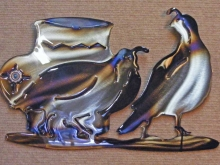 southwestern,metal,art,vase,quail,bird,symbol